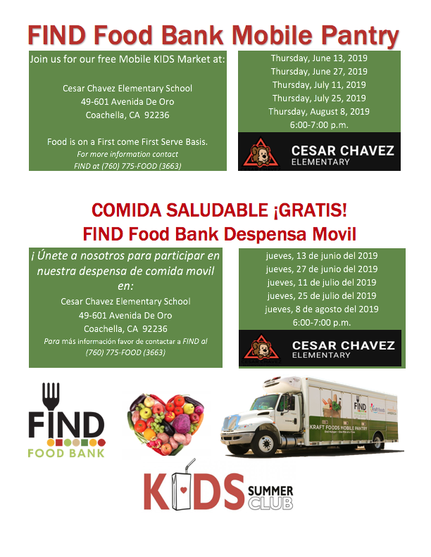 Flyer with times and dates of Mobile Food Pantry